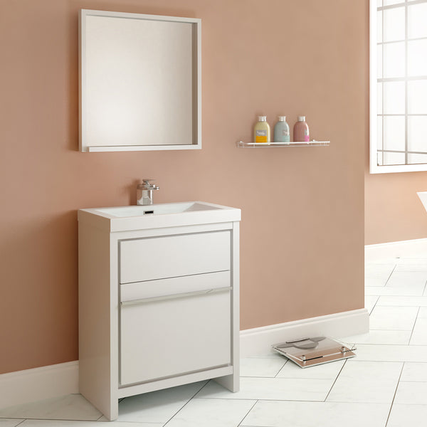 "Ripley 24"" Single Modern Bathroom Vanity Set White with Mirror"