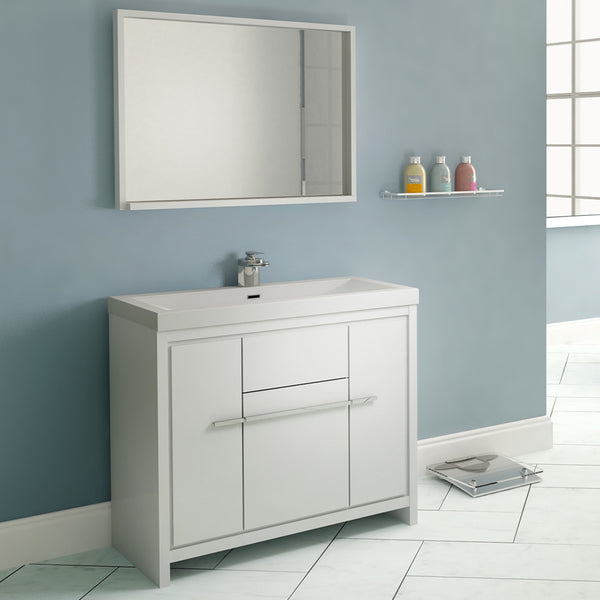 "Ripley 36"" Single Modern Bathroom Vanity Set White with Mirror"