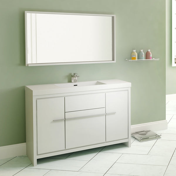 "Ripley 48"" Single Modern Bathroom Vanity Set in White with Mirror"