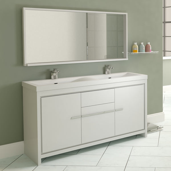 "Ripley 57"" Double Modern Bathroom Vanity in White without Mirror"