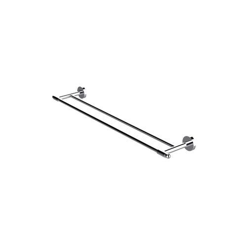 Eviva Bullet Double Towel Bar Round Design (Brushed Nickel) Bathroom Accessories