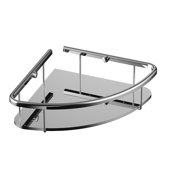 Eviva Shelfi Wall Mount Corner Glass Shelf with Brushed Nickel Hardware Finish