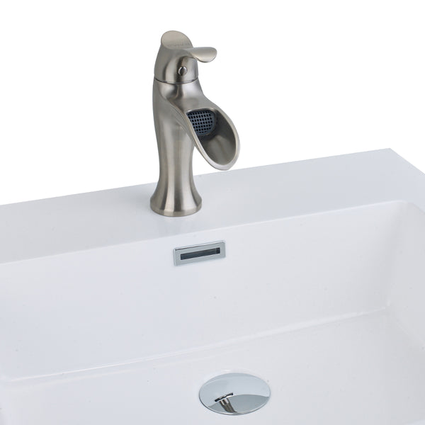 EVIVA Swan? Luxury Water-fall Single Handle (Lever) Bathroom Sink Faucet (Brushed Nickel)