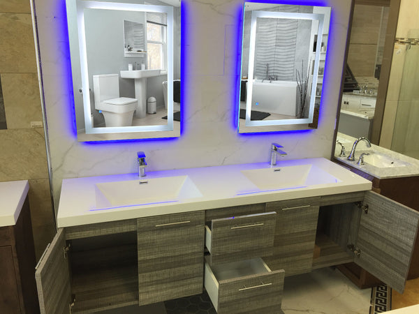 Eviva EVMR03-72X30-LED Lite Wall Mounted Modern Bathroom Vanity Backlit Lighted LED Mirror