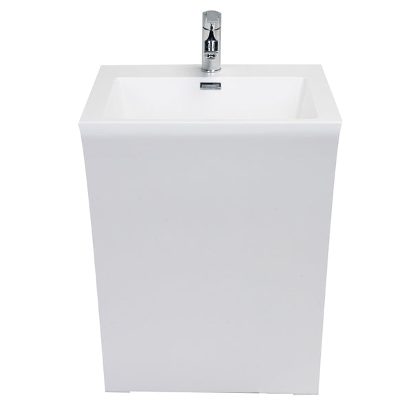 "Eviva Seven 24"" White Bathroom Vanity One Piece High Quality Acrylic Consule/Pedestal"