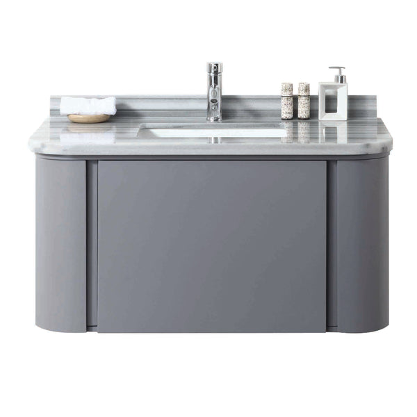 "Eviva Plus Stella 40"" Satin Luxurious Grey Wall Mount Modern Bathroom Vanity With Moon Light Marble Top & Porcelain Sink"