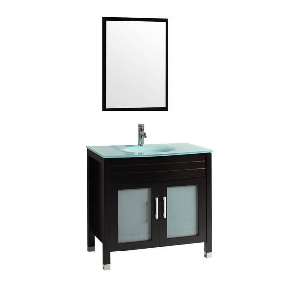 "Eviva Roca 30"" Espresso Bathroom Cabinet with Integrated Glass Tempered Sink"