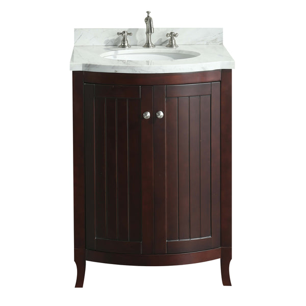 Eviva Odessa Zinx+? Dark Teak 24? Bathroom Vanity with White Carrera Marble Counter-top and Porcelain Sink