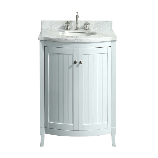 Eviva Odessa Zinx+? 24? White Bathroom Vanity with White Carrera Marble Counter-top and Porcelain Sink
