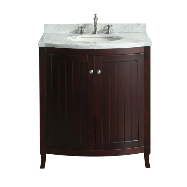 Eviva Odessa Zinx+? Dark Teak 30? Bathroom Vanity with White Carrera Marble Counter-top and Porcelain Sink