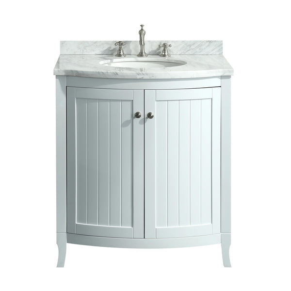 Eviva Odessa Zinx+? 30? White Bathroom Vanity with White Carrera Marble Counter-top and Porcelain Sink