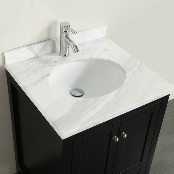 "Eviva Lime? 24"" Bathroom Vanity Espresso with White Marble Carrera Top"