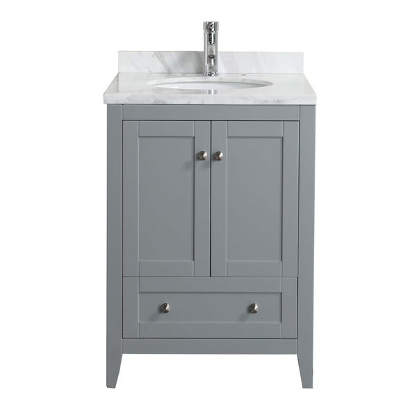 "Eviva Lime? 24"" Bathroom Vanity Chilled Grey with White Marble Carrera Top"