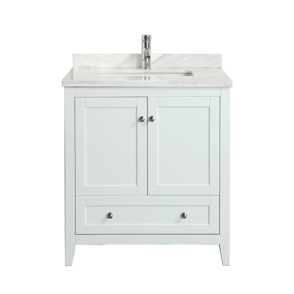 "Eviva Lime? 30"" Bathroom Vanity White with White Marble Carrera Top"