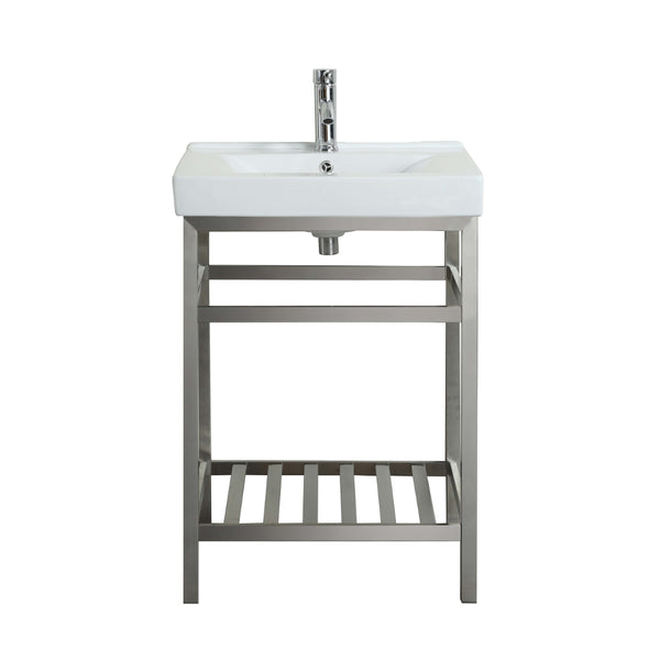 "Eviva Stone? 24"" Bathroom Vanity Stainless Steel with White Integrated Porcelain Top"