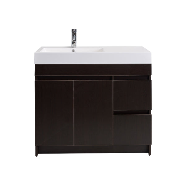 "Eviva Beach? 39"" Wenge(Dark Brown) Modern Bathroom Vanity Set with Integrated White Acrylic Sink"