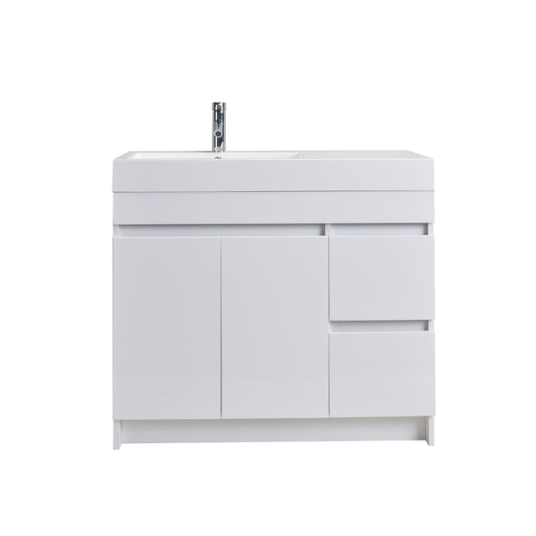 "Eviva Beach? 39"" White Modern Bathroom Vanity Set with Integrated White Acrylic Sink"