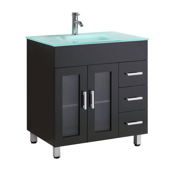 "Eviva Shore 30"" Modern Bathroom Vanity with Integrate Glass Sink"