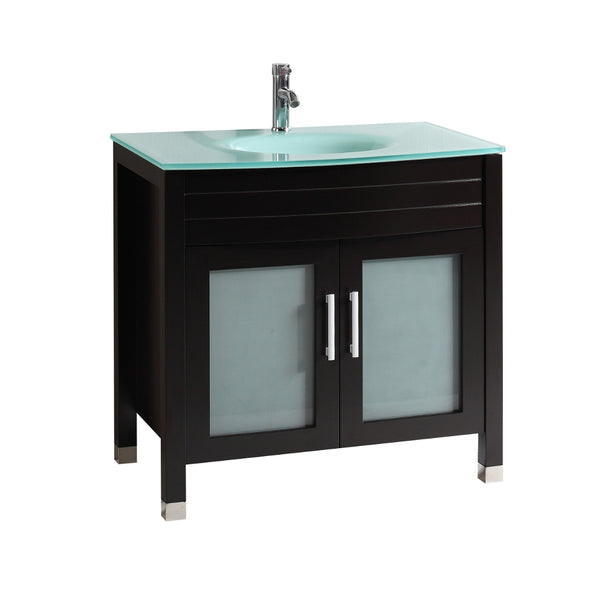 "Eviva Roca 36"" Espresso Bathroom Cabinet with Integrated Glass Tempered Sink"