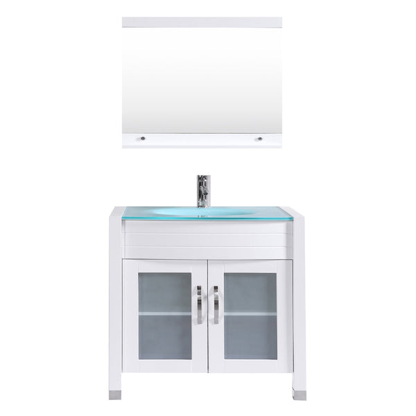 "Eviva Roca 36"" White Bathroom Cabinet with Integrated Glass Tempered Sink"
