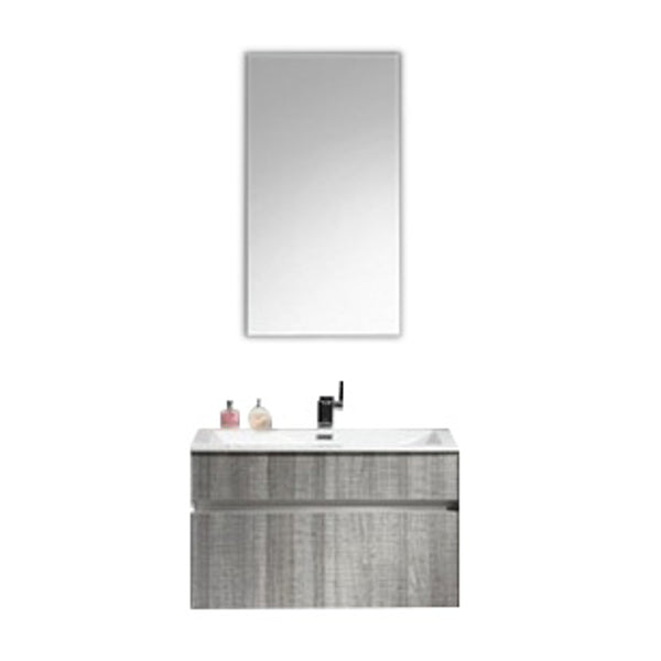 "Eviva Ashy 24"" Wall Mount Modern Bathroom Vanity Set Ash Gray  (Grey) with White Integrated Sink"