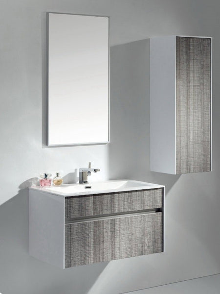 "Eviva Ashy 32"" Wall Mount Modern Bathroom Vanity Set Ash Gray  (Grey) with White Integrated Sink"