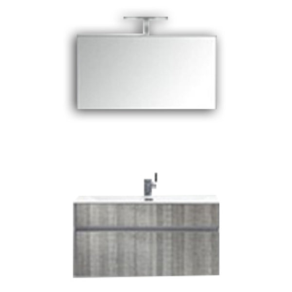 "Eviva Ashy 36"" Wall Mount Modern Bathroom Vanity Set Ash Gray  (Grey) with White Integrated Sink"