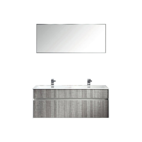 "Eviva Ashy 48"" Wall Mount Modern Bathroom Vanity Set Ash Gray  (Grey) with White Integrated double Sink"