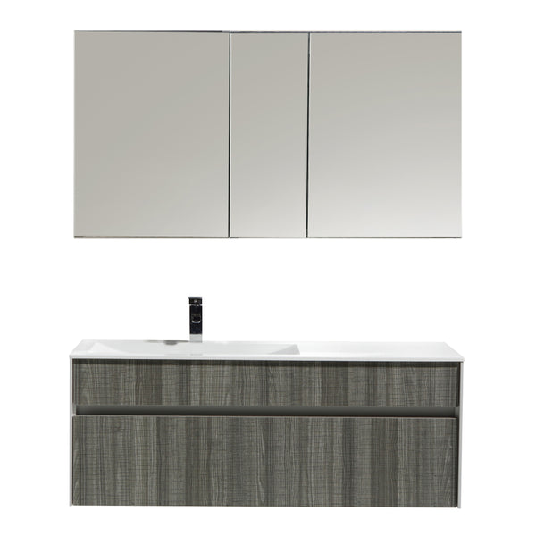 "Eviva Ashy 48"" Wall Mount Modern Bathroom Vanity Set High Gloss Ash Gray  (Grey) with White Integrated Single Sink"