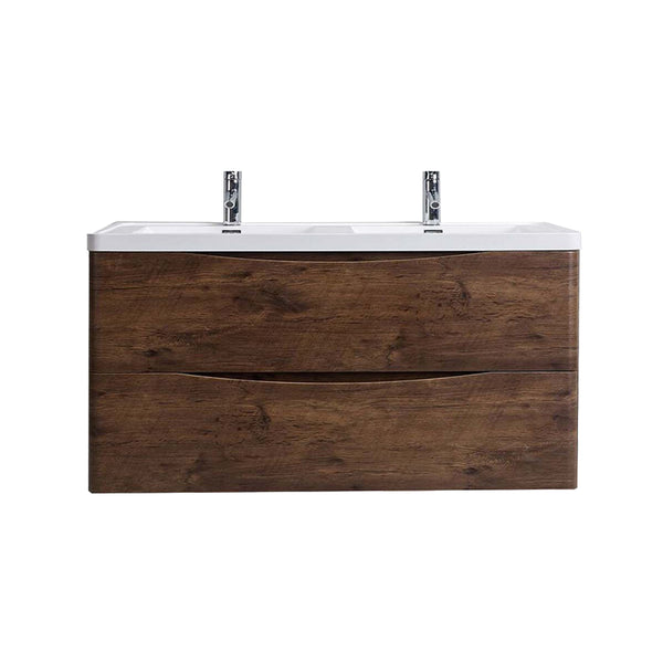 "Eviva Smile? 48"" Rosewood Modern Bathroom Vanity Set with Integrated White Acrylic Double Sink Wall Mount"