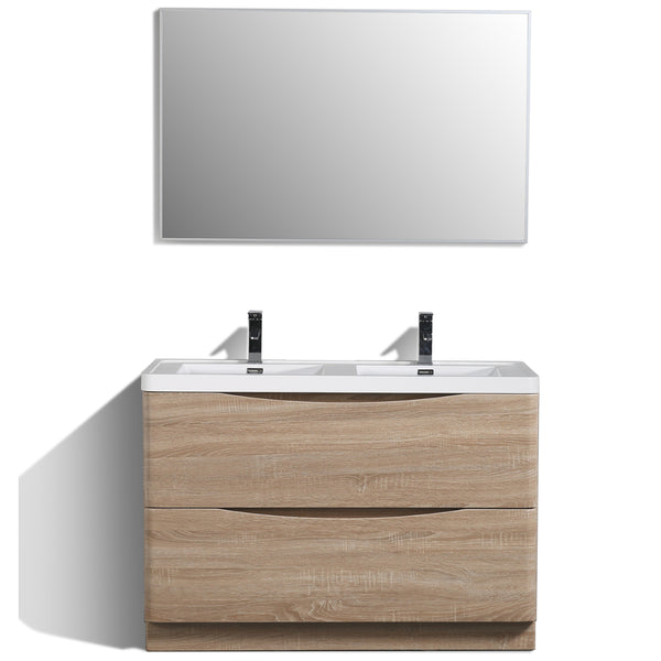 "Eviva Smile? 48"" White-Oak Modern Bathroom Vanity Set with Integrated White Acrylic Double Sink"