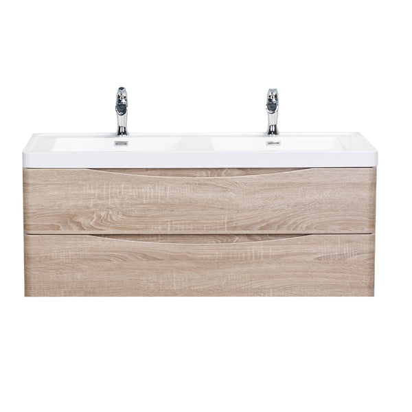 "Eviva Smile? 48"" White Oak Modern Bathroom Vanity Set with Integrated White Acrylic Double Sink Wall Mount"
