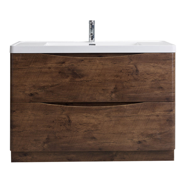 "Eviva Smile? 48"" Rosewood Modern Single Bathroom Vanity Set with Integrated White Acrylic Sink"