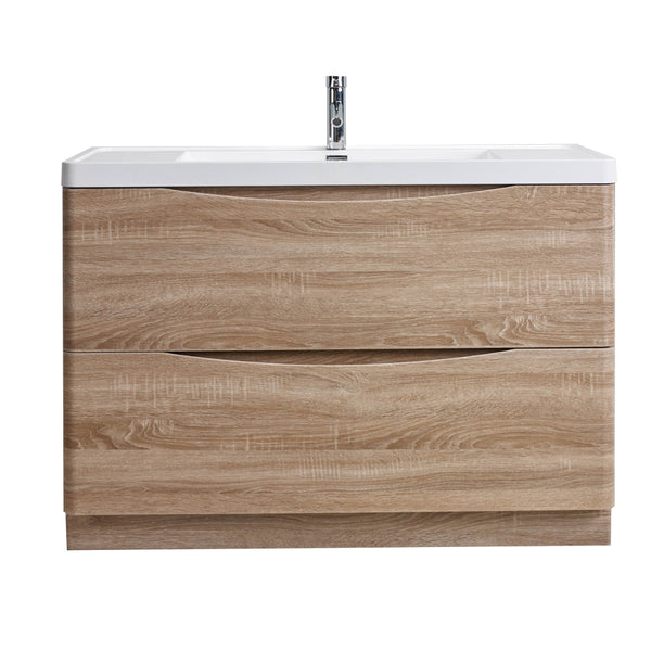 "Eviva Smile? 48"" White Oak Modern Bathroom Vanity Set with Integrated White Acrylic Sink"