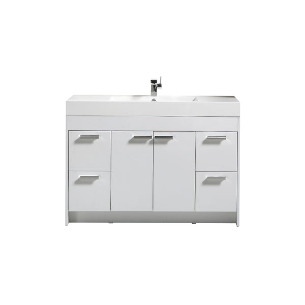 "Eviva Lugano 48"" White Modern Bathroom Vanity with White Integrated Acrylic Sink"