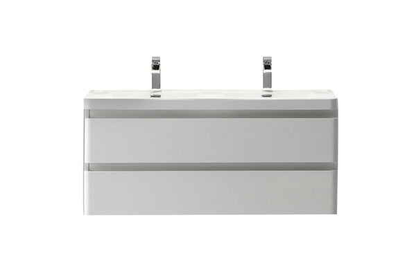 "Eviva Glazzy? 48"" Wall Mount Modern Bathroom Vanity with Double Sink (High Glossy White)"