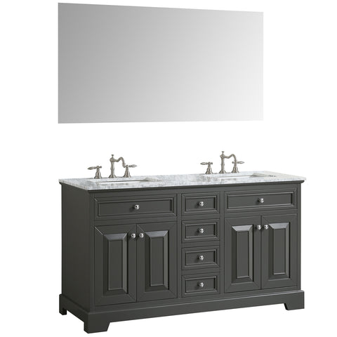 "Eviva Monroe 72"" Gray Transitional Double Sink Bathroom Vanity w/ White Carrara Top"
