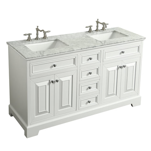 "Eviva Monroe 72"" White Transitional Double Sink Bathroom Vanity w/ White Carrara Top"