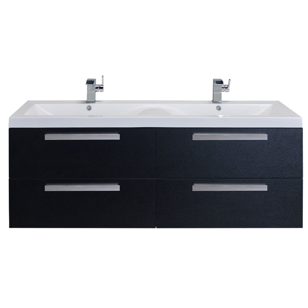 "Eviva Largo? 57"" Black-Wood Modern Bathroom Vanity Set with Integrated White Acrylic Double Sink"