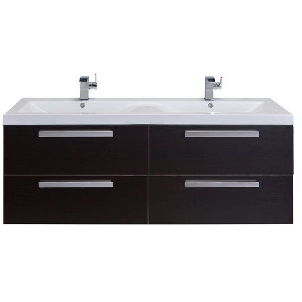 "Eviva Largo? 57"" Wenge Modern Bathroom Vanity Set with Integrated White Acrylic Double Sink"