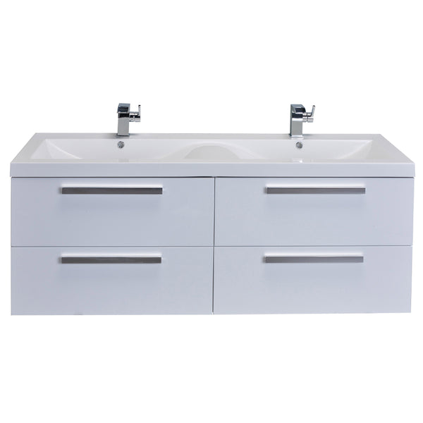"Eviva Largo? 57"" White Modern Bathroom Vanity Set with Integrated White Acrylic Double Sink"