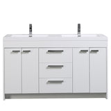 "Eviva Lugano 60"" White Modern Bathroom Vanity with White Integrated Acrylic Double Sink"