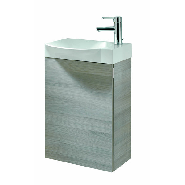 "Eviva Tiny 18"" Wall Mount Grey Modern Bathroom Vanity with White Integrated Porcelain Sink"