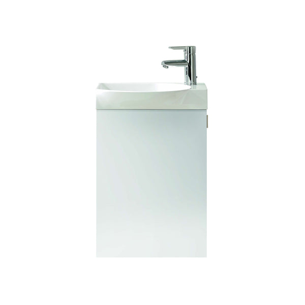 "Eviva Tiny 18"" Wall Mount White Modern Bathroom Vanity with White Integrated Porcelain Sink"