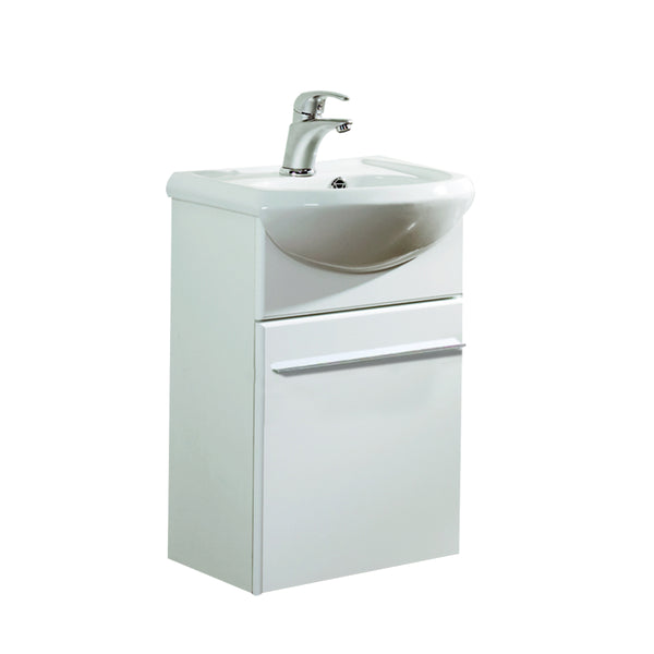 "Eviva Venti 18"" Wall Mount White Modern Bathroom Vanity with White Integrated Porcelain Sink"