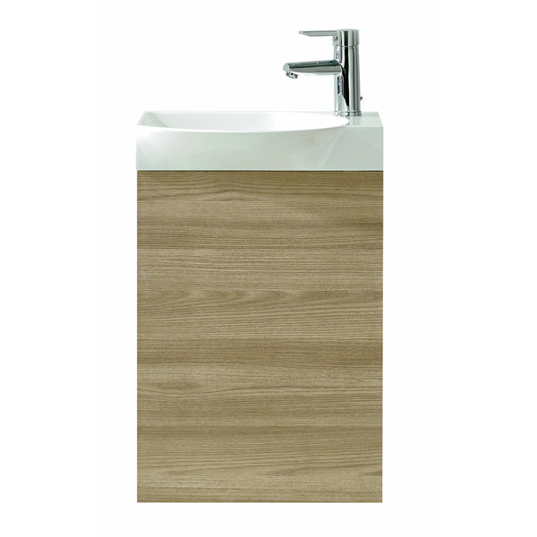 "Eviva Tiny 18"" Wall Mount Walnut Modern Bathroom Vanity with White Integrated Porcelain Sink"