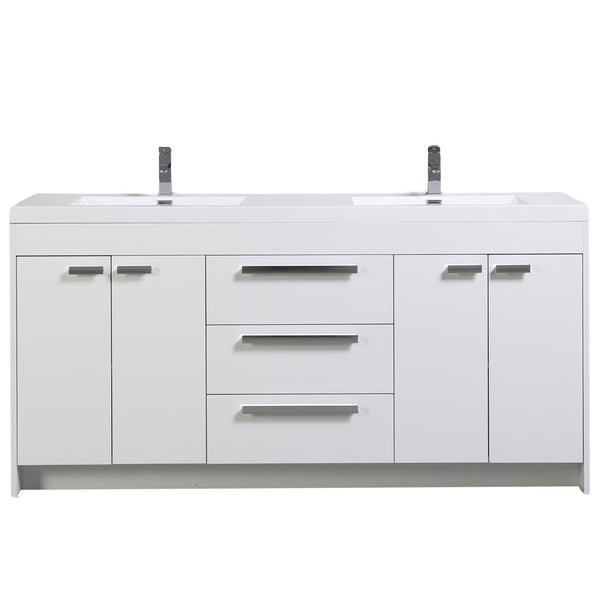 "Eviva Lugano 72"" White Modern Bathroom Vanity with White Integrated Acrylic Double Sink"
