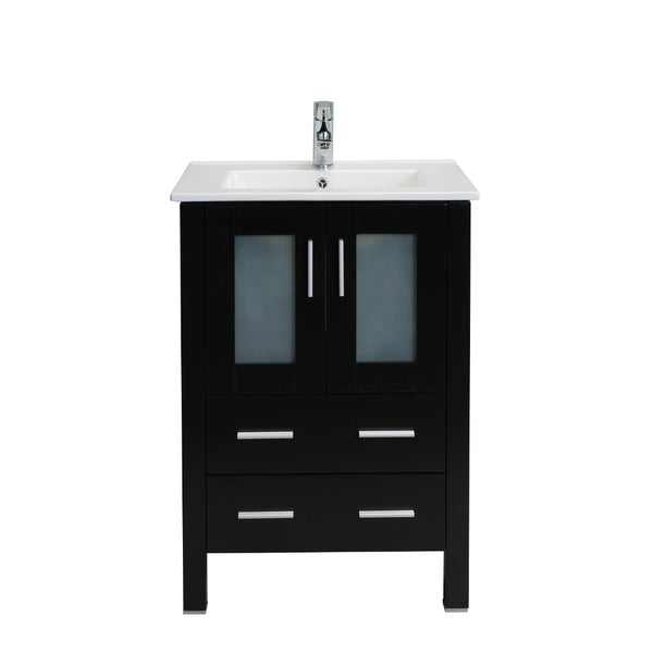 "Eviva Vines 24"" Espresso Bathroom Vanity with Integrated White Porcelain Sink"