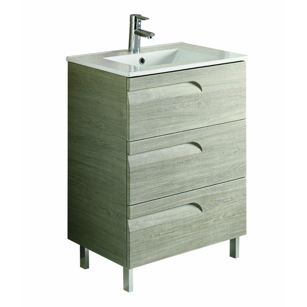 "Eviva Vitta 24"" Maple Modern Bathroom Vanity with White Integrated Porcelain Sink"