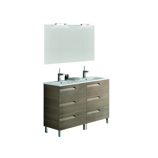 "Eviva Vitta 48"" Ash Modern Bathroom Vanity with White Integrated Porcelain Sink"